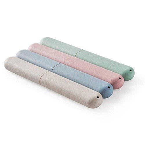 BlueBeach® 2 PCS Umweltfreundliche Weizen Stroh Spielraum Bunte Zahnbürstenhalter Fall Abdeckung für Reisen (Gelegentliche Farbe)