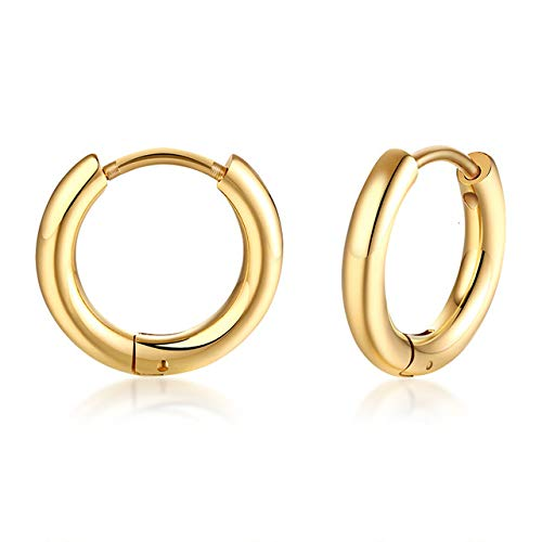 Pendientes De Aro Clásicos Simples Para Mujeres Y Hombres, Pendientes Pequeños De Acero Inoxidable Brillante, Joyería Informal Unisex, Oro