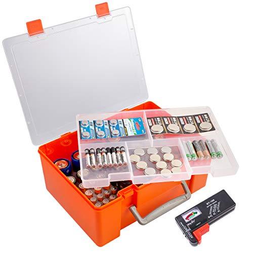 Batterie Aufbewahrungsbox, Batterien Aufbewahrung Organizer Tasche mit Batterietester. 120+ Batterien Behälter Box Hält für AA AAA 9V C D 23A CR123 Lithium 3V LR44 CR2016 CR1632 CR2032 CR2025