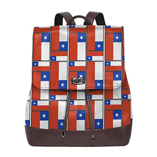 mochila de cuero para mujer Chile Flag Puzzle Women Backpack Leather Backpack For Women Ladies Shoulder Bags Schoolbag Casual Daypack Backpack For Girls Fashion PU Travel bags