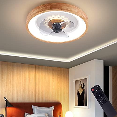 VOMI Plafón de Madera LED Ventilador de Techo con Luz Lámpara Tranquila 3 Palas Están Hechas de ABS Dormitorio Lámpara de Techo con Mando a Distancia para Salón Comedor Oficina Restaurante Redondo