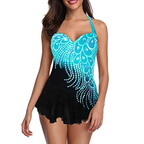 Shujin Damen Feder Farbverlauf Tankini Set Zweiteiliger Bikini Set Push Up Bademode Große Größen Badeanzug Gepolsterte Bademode Swimsuit Bauchweg Tankini mit Shorts