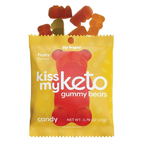 Kiss My Keto Candy Gummy Bears Keto Gummies 12-Pack | Low Sugar (2g), Low Carb (2g-Net) Keto Snack | Corn Fiber & Gluten Free, 40 Calories - Low Carb Candy Naturally Flavored, Soy Free & Non-GMO