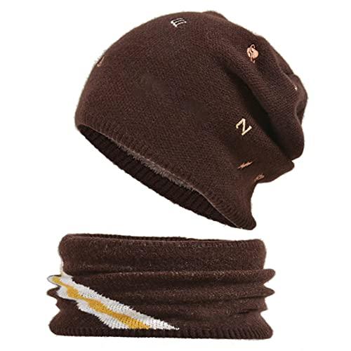 YSoutstripdu Czapka dla dzieci unisex i apaszka zestaw haft ciepły do wszystkiego pluszowy dzianinowy kapelusz