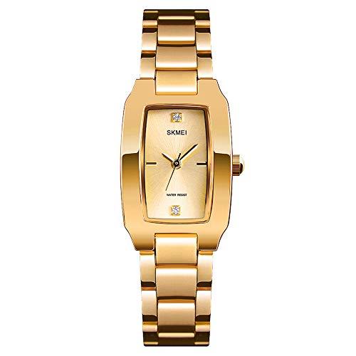 SKMEI Women Watch Rectangle Rose Gold Silver Stainless Steel Waterproof Luxury Quartz Analog