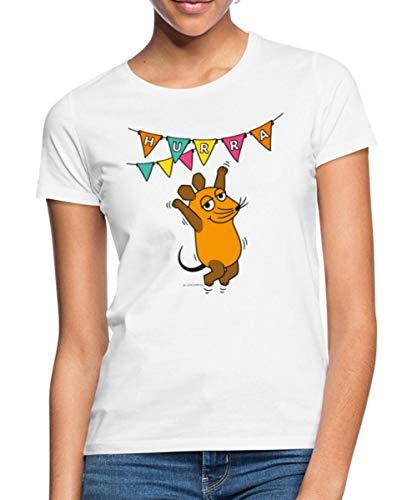 Spreadshirt Die Sendung Mit Der Maus 50 Jahre Jubiläum Hurra Frauen T-Shirt, L, Weiß
