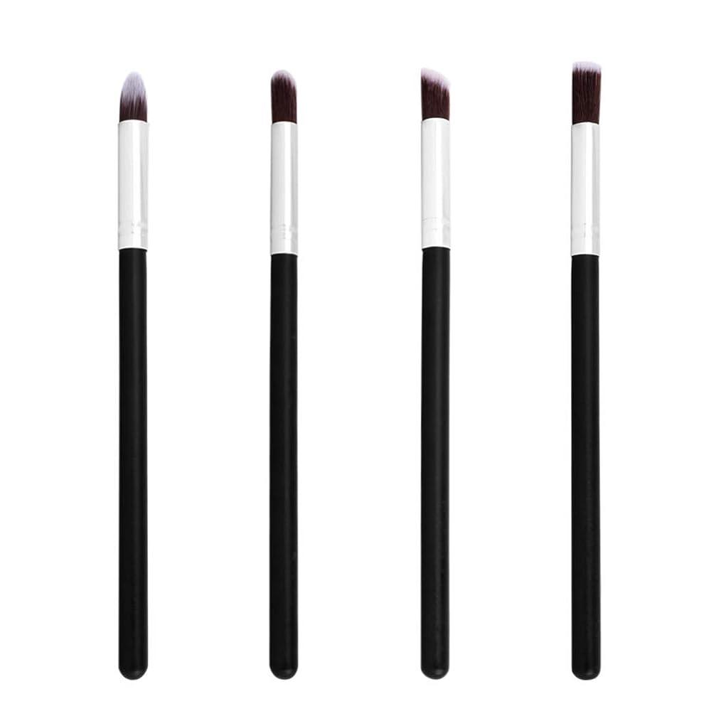 店主枯渇する磁石Lurrose 4ピース化粧ブラシアイシャドウブラシ鼻シャドウブラシアイブレンドブラシ女性(黒と銀)