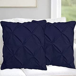 Navy Blue Pinch Pleated Pintuck Pillow Shams Set of 2 - Luxury 600 Thread Count 100% Natural Cotton Decorative Pillow Cover Pintuck European Pillow Sham (2 Pack, Euro 26'' x 26'')