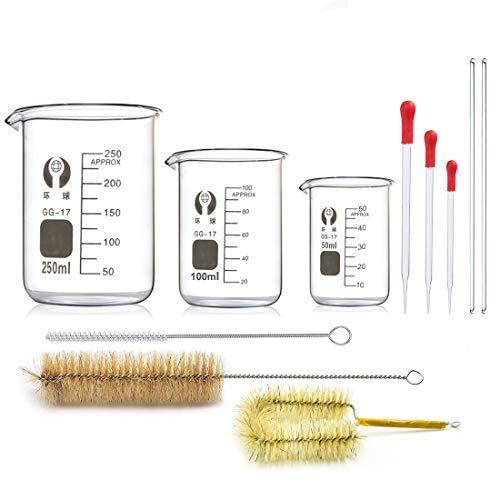 Borosilikatglas Bechergläser Set, JESSTOLO 3 Stück Dickglas Graduierten Becherglas mit Klare Ausguss 50ml 100ml 250ml, 3 Glas Pipetten, 3 Waschbürste und 2 Glasstab, für Labor Forschung Medizin