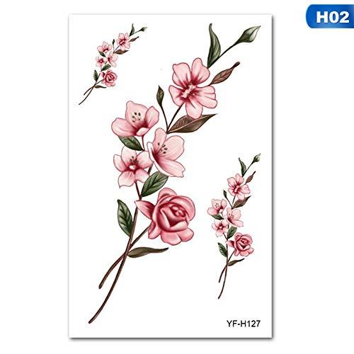 Zhuhuimin 5 stuks 5 kleuren 3D-bloempot afneembare waterdichte tattoo grote DIY bloem sticker tatoeage