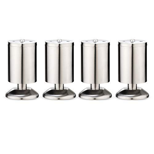 Gwotfy 4Piezas Armario de muebles Patas de metal, Patas para Muebles Inoxidable Cocina Patas Regulables, Estera de goma, Seguro y silencioso, Altura ajustable