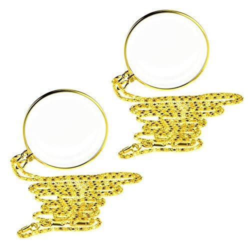2 PCS HäNgende Lupe, Portable 5X Lupe Monokel-Objektiv Mit HäNgenden Halskette, Novelty unisex monokel, loupe Kette Schmuck Lupe mit Anhänger Optische Linse (Gold/Silber) (2 Pcs Gold)