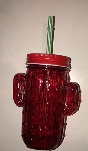 Pack de 2 vasos de cristal con pajita reutilizable y tapa enroscable 350ml (ROJA)