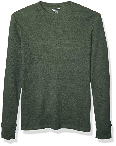Amazon Essentials Regular-Fit Long-Sleeve Waffle dress-shirts, Olive Heather, US S (EU S)