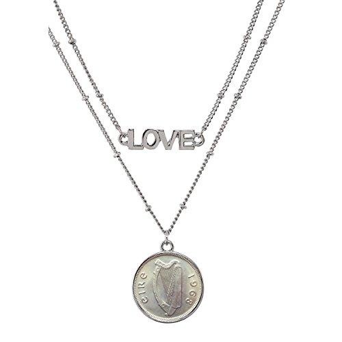 Irish Threepence Coin Pendant Necklace Love