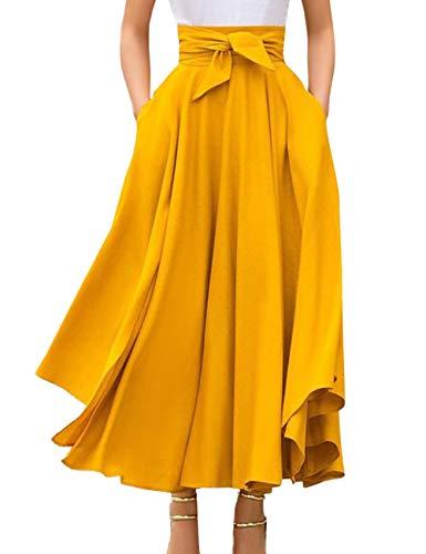 SOMTHRON Damen Maxirock Hohe Taille Einfarbig Faltenrock Mode Sommerröcke Rüschen Schnürsenkel Strandrock mit Bow(YE,M)