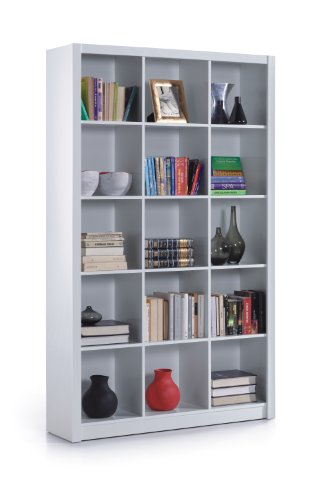 Esidra Libreria 3 colonne con 5 scaffali, Laminato Bianco, 114 x 195,5 x 30 cm