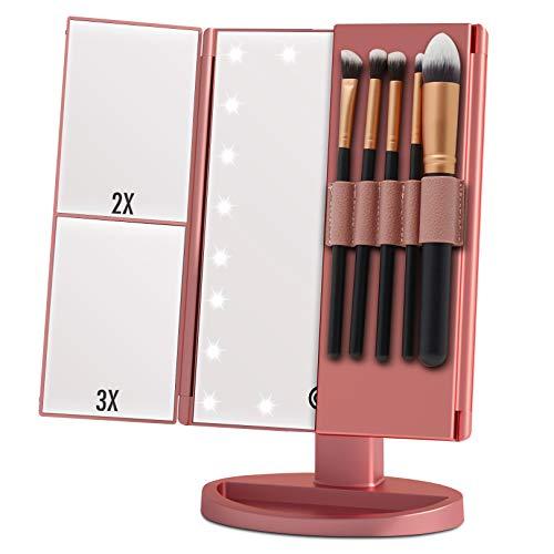 Espejo Maquillaje con Luz, Espejo de Mesa Tríptica Espejo con Aumentos 10x, 3X, 2X, 1x, Pantalla táctil Lámparas Rotación de 180° Espejo Cosmético Carga con USB o Batería (Rosegold+Brushholder)