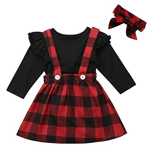 Newborn Baby Girls Christmas Outfits Deer Applique Check Long Sleeve T-Shirt Tops+Plaid Long Pants+Stocking+Headband (6-12 Months, Suspender Skirts Set)