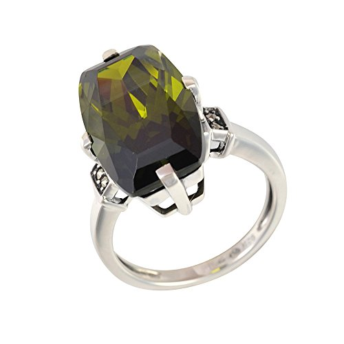 Esse Marcasite Sterling Silver Large Olive Quartz and Marcasite Cocktail Ring - Size M