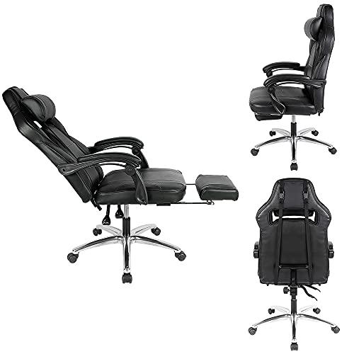 XUANYU Gaming-Stuhl mit Verstellbare Rückenlehne, Fußpolster und 360 ° Drehbarer Chefsessel Bürostuhl Ergonomischer Stuhl, 4 Farbvarianten (Schwarz-rot)