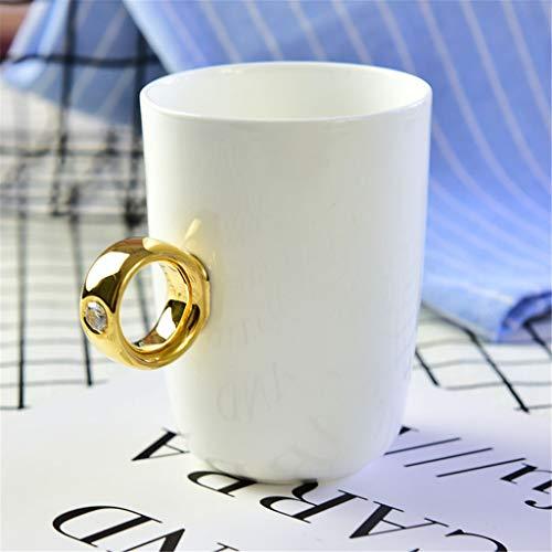 Tasses de Tasse à thé en Porcelaine café Elegant_RG, gobelets à thé Faits à la Main en Porcelaine taillés à la Main en Porcelaine, Tasse à Bague en Diamant plaqué Or