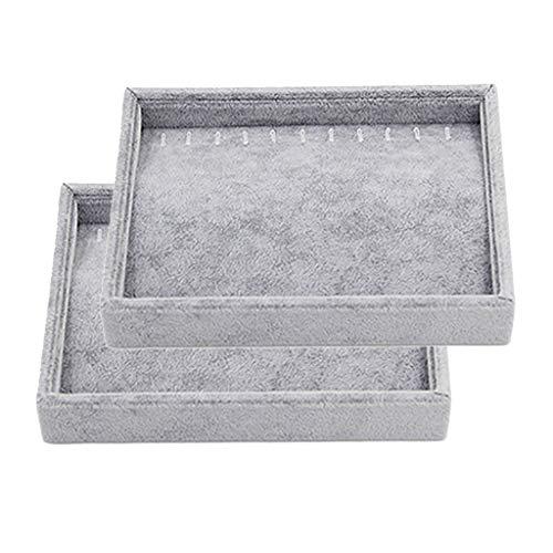 2Pcs Jewelry Tray Necklace Bangles Rings Box Gemstone Storage Organizer