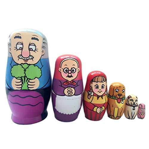 HEALLILY Muñeca Rusa de anidación Familia matrioska de Madera Juguete de apilamiento de 6 Capas para niños colección de niños Juguete Regalo de cumpleaños de Navidad