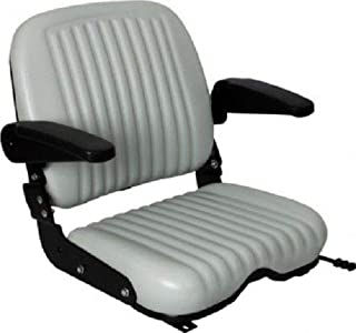 GRAY HIGH BACK COMFORT WIDE BOTTOM SEAT W/FLIP-UP ARMRESTS FITS DIXIE CHOPPER ZERO TURN MOWERS #KW