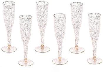 Gold Glitter Plastic Classicware Glass Like Champagne Wedding Parties Toasting Flutes  1 Box = Quantity 30