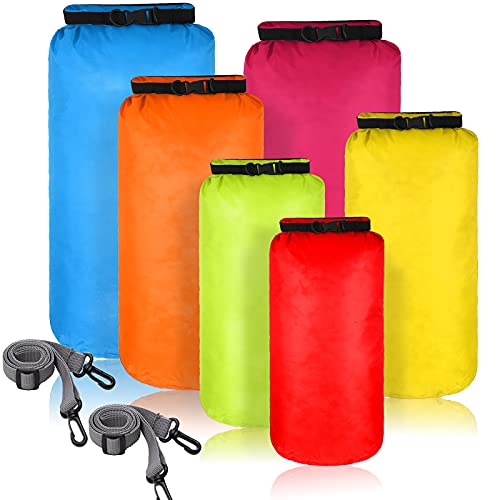 6 Pieces Waterproof Dry Bag Set Dry Sacks Lightweight Airtight Combo Set with 20 L 15 L 10 L 8 L 5 L 3 L Sacks and Long Adjustable Shoulder Strap for Kayaking Boating Hiking Camping (Bright Color)