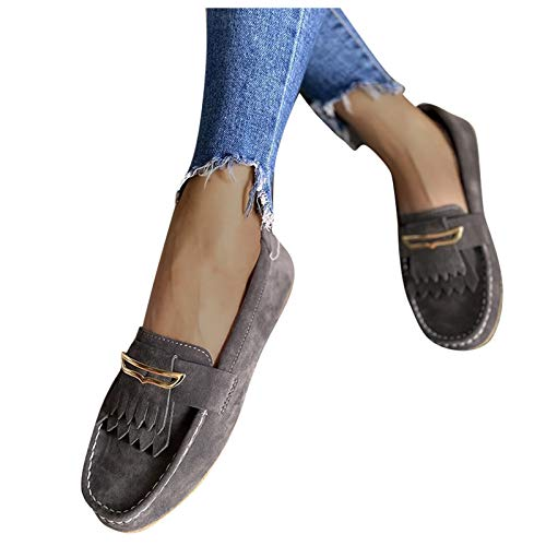 BIBOKAOKE Chaussures de voile, mocassins pour femme, chaussures de bateau, pompons, plates, loafers, chaussures décontractées, chaussures de randonnée respirantes.