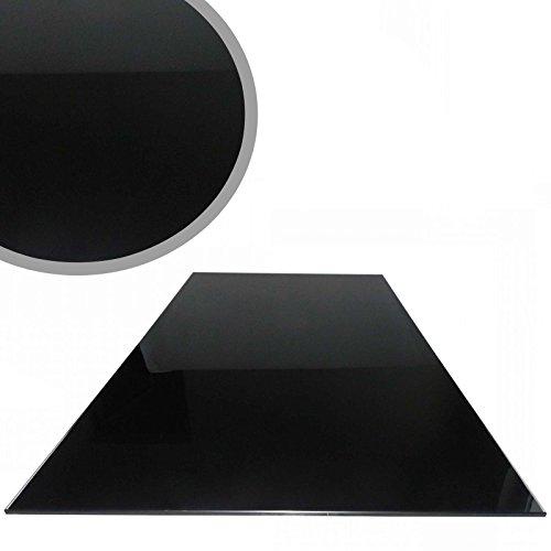 Euro Tische Glasplatte für Kaminofen - Glasscheibe mit 6mm ESG Sicherheitsglas - perfekt geeignet als Funkenschutzplatte - Verschiedene Größen (100x60cm, Schwarz)