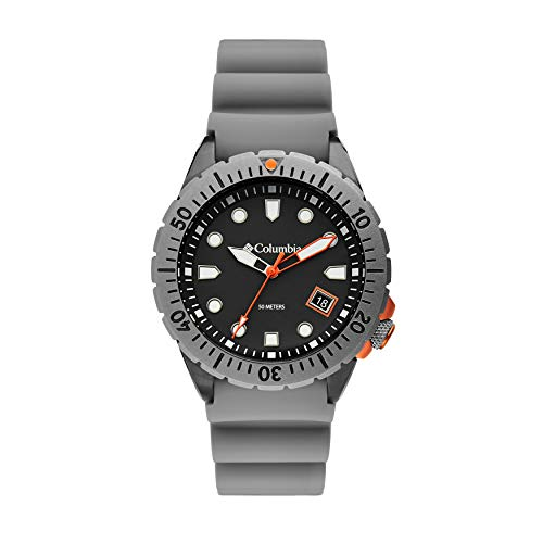 Columbia Pacific Outlander Stainless Steel Quartz Sport Watch with Silicone Strap, Gray, 12 (Model: CSC04-002)