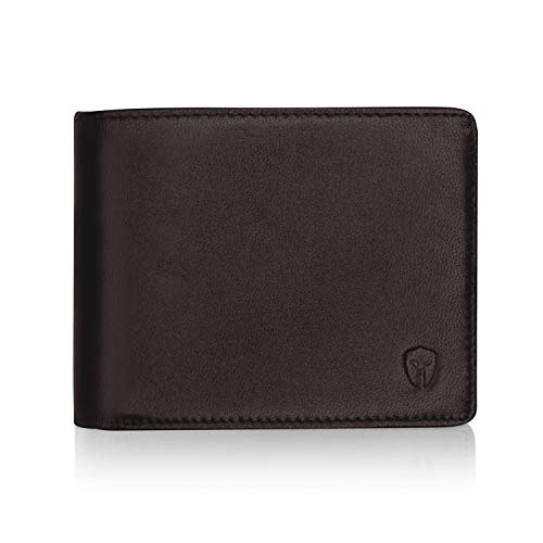 2 ID Window RFID Wallet for Men, Bifold Side Flip, Extra Capacity Travel Wallet (Brown - Sheepskin Leather)