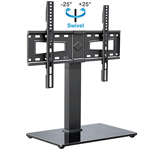MOUNTUP Universal TV Stand, Table Top TV Stands for 37 to 70 Inch Flat Screen TVs - Height Adjustable, Tilt, Swivel TV Mount with Tempered Glass Base Holds up to 88 lbs, Max VESA 600x400mm MU0031