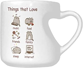Funny Novelty Heart Shaped Cup, My name is Pusheen Things that Love Coffee Cup Office Tea Cups For Friends, Father, Mother, Girlfriend or Wife Gift Cup 10.3 Ounce