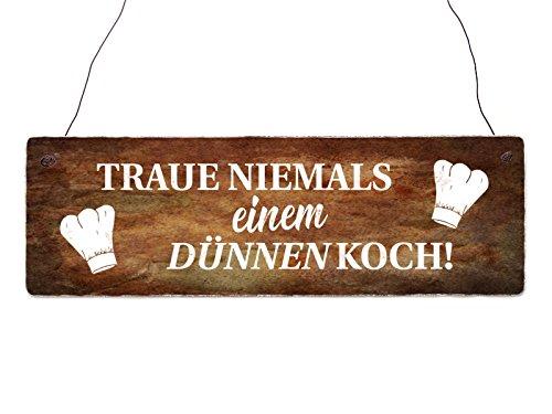 Interluxe Holzschild Shabby TRAUE Niemals EINEM DÜNNEN KOCH Küche lustig Deko Restaurant