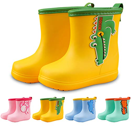 Wellington Boots kids wellies EVA Insoles Lightweight Unisex Boys Girls Pollutant Free Wide Children Rain Boots Cartoon Toddlers Rain Waterproof Shoes Yellow