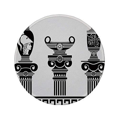 """Rutschfreies Gummi-rundes Mauspad Toga-Party Set mit hellenischen Vasen und ionischen Säulen Künstlerisches Design Amphore Antike Schwarz und Weiß 7.9\""""x7.9\""""x3MM"""