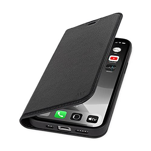 WIIUKA Hülle für iPhone 13 Pro Max, Deutsches Premium Leder, mit Kartenfach, extra Dünn, Handyhülle mit Standfunktion, Tasche Schwarz