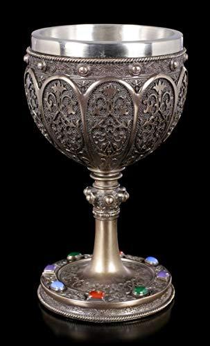 Sacro Graal Calice - in Bronzo Calice per Vino, Decorazioni, Bicchiere, H 17 cm, 250 ML
