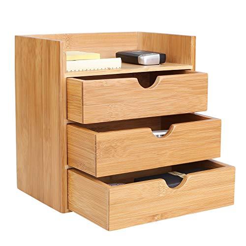 Homfa Organizador bambú escritorio Organizador Suministros