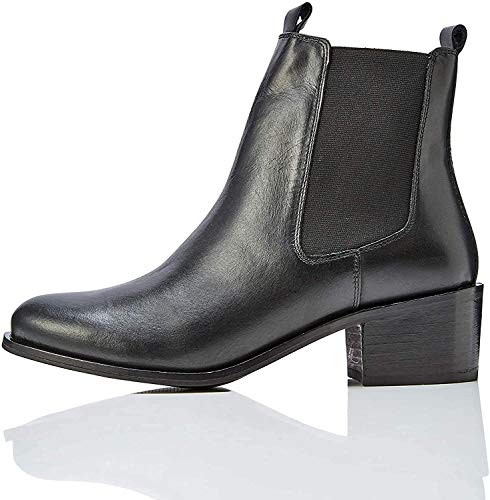 find. Mid Heeled Leather Chelsea Boots, Schwarz Black), 41 EU