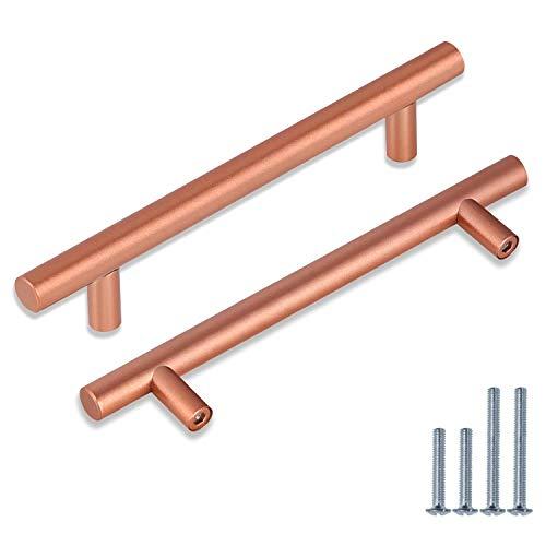 Paquete de 30 manijas de barra en T para gabinete, centros de agujeros de 128 mm (5 pulgadas) para herrajes de muebles, barra redonda en T de acero inoxidable en oro rosa moderno hardware de gabinete