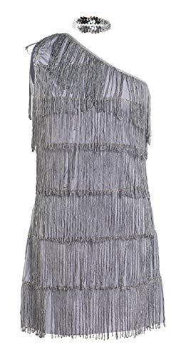 20 ans Flapper Costume de déguisement - Comprend robe grey frangée et serre-tête - Flapper Costume de déguisement pour Halloween et Performances- Royaume-Uni Tailles 8-16 (Women: 38, Grey)