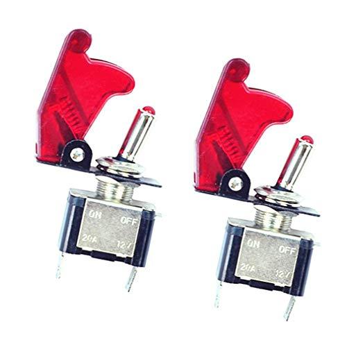 TILY 2x 12V 20A Auto KFZ Schalter SPST Wippschalter Ein/Ausschalter LED Anzeige Wechsel Switch Kippenschalter Rot