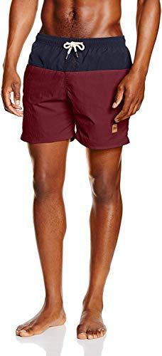 Urban Classics Block Swim Shorts Pantaloncini da Bagno, Multicolore (Nvy/Burgundy 675), M Uomo