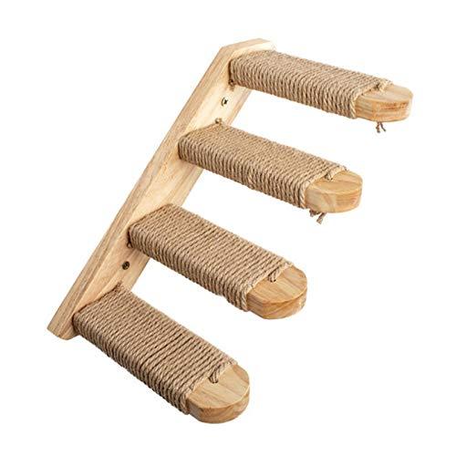 Escalera para gatos de 40 cm de madera para escalar gatos con cuerda de sisal, estante de escalera para arañar gatos, muebles para mascotas para escalar, jugar y descansar
