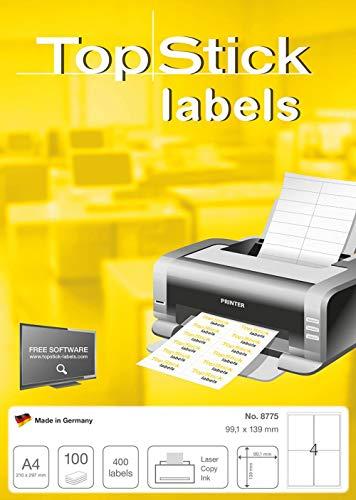 TopStick 8775 Universal Etiketten DIN A4 (99,1 x 139 mm, 100 Blatt, Papier, matt) selbstklebend, bedruckbar, permanent haftend Adressaufkleber, 400 Versandetiketten, weiß